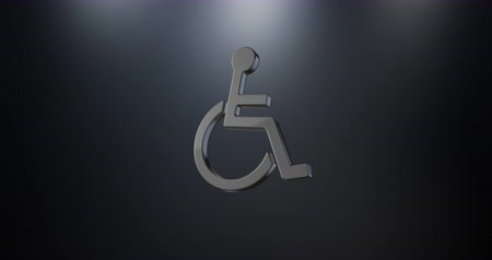 акт : Animated Wheelchair Disabled ISA Access Black 3d Icon Loop Modules for edit with alpha matte