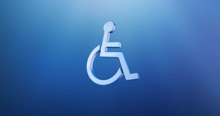 акт : Animated Wheelchair Disabled ISA Access Blue 3d Icon Loop Modules for edit with alpha matte Стоковые видеозаписи