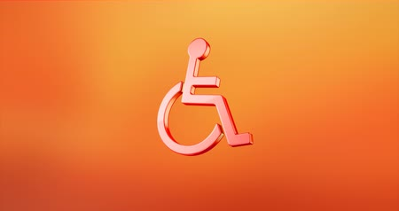 акт : Animated Wheelchair Disabled ISA Access Red 3d Icon Loop Modules for edit with alpha matte