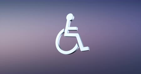акт : Animated Wheelchair Disabled ISA Access Silver 3d Icon Loop Modules for edit with alpha matte Стоковые видеозаписи