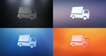 hieróglifo : Animated Delivery Truck S 3d Icon Loop Modules for edit with alpha matte