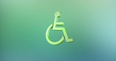 акт : Animated Wheelchair Disabled ISA Access Color 3d Icon Loop Modules for edit with alpha matte
