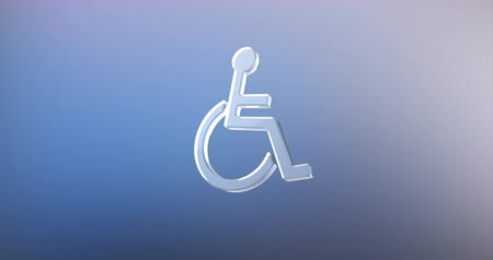 акт : Animated Wheelchair Disabled ISA Access Glass 3d Icon Loop Modules for edit with alpha matte