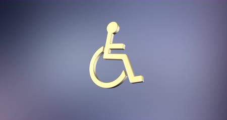 акт : Animated Wheelchair Disabled ISA Access Gold 3d Icon Loop Modules for edit with alpha matte