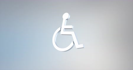 акт : Animated Wheelchair Disabled ISA Access White 3d Icon Loop Modules for edit with alpha matte