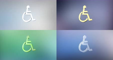 акт : Animated Wheelchair Disabled ISA Access 3d Icon Loop Modules for edit with alpha matte