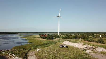 Észtország : Beautiful windmill turbines, Estonia, Virtsu park. Aerial drone video. Aerial View Stock mozgókép