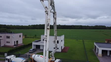 cement floor : concrete pumping truck aerial view