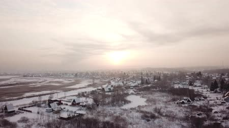 sazlık : Beautiful winter landscape. Siberian village in the cold. Sunrise. Industrial landscape.