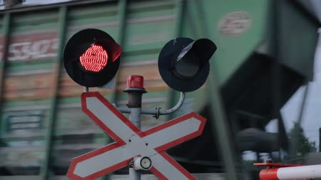 Prohibition signal, flashing signal at the railway crossing.