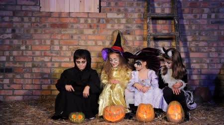 ведьма : A boy and three girls in Halloween costumes sits with pumpkins, boy goes away and girls start to laugh. Стоковые видеозаписи