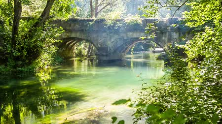 arch bridges : CRANE SHOT: Fantastic view of an old mysterious bridge standing in a bright green forest shining with sunlight and mountain river with still water surface.