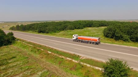 petrol : Fuel Truck Driving On Country Road