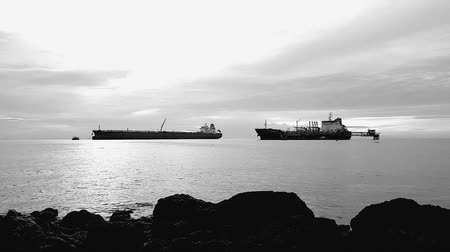 тон : Black and white tone. Time laps. A cargo ship in the middle of the Straits of Melaka Стоковые видеозаписи
