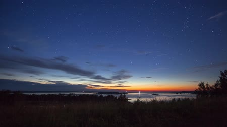 night : Summer night at the lake Stock Footage