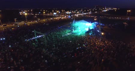 A big crowded concert from the air. Excitement. Drone Dostupné videozáznamy