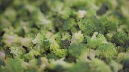 brocoli : Gehakte broccoli dicht omhoog Stockvideo