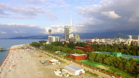 varenblad : Seashore of Batumi from the birds eye view. Stockvideo