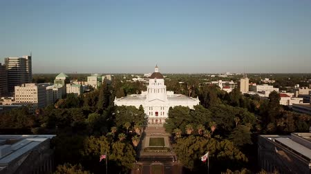 государство : California State Capitol.Aerial view. Sacramento,California USA 4K