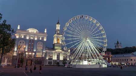 bank tower : Ferris wheel Kiev, Ukraine Stock Footage