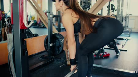 Young beautiful brunette girl with long hair in the gym doing exercises on the squat with a bar.