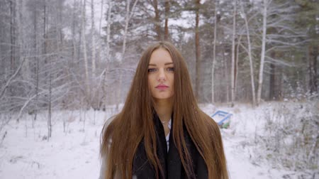 pólos : Close up Portrait of stylish young beautiful woman walking outdoors in a winter park over snowy background. It is snowing. beautiful young woman is walking in a winter park. looking to the camera. 4 k Slow motion. She is happy in winter. Smiling. Winter p Stock Footage