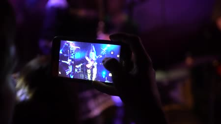 Mobile Phone Recording Video Close Up, Music Festival, Live Concert, slow-motion