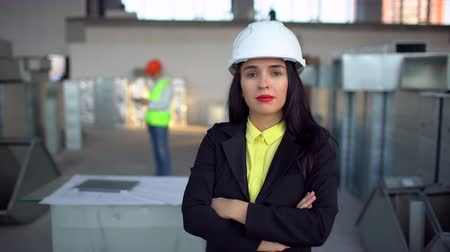 extinguishing : Female engineer standing and male engineer using digital tablet in background. Portrait of female engineer. 4 k airduct of an HVAC system. Air ducts for conditioning and ventilation & fire extinguishing pipes at an industrial facility. Stock Footage