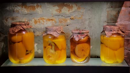 ocet : Vegetables banks. Jars with pickled vegetables and on glass shelf Wideo