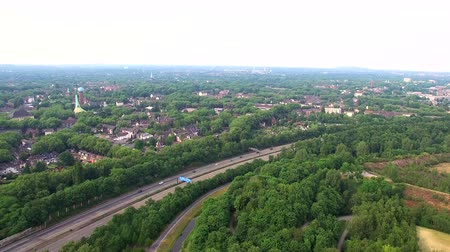 bridge man made structure : Aerial 4k view. autobahn in Germany Duisburg Stock Footage