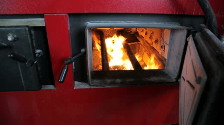 briquettes : Fuel burns in an industrial boiler. View through the open door