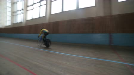 ska : UKRAINE, LVIV - APRIL 08 2017: The sports complex SKA were competitions in cycling sport among youths. Stock Footage