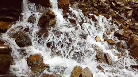 profundidade de campo rasa : Slow motion of a small mountain waterfall. 240fps. The mountain stream falls down on stones in a bottom. Stock Footage