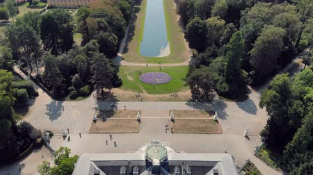 historical germany : Aerial Dusseldorf Germany Beneath Castle and Park Stock Footage