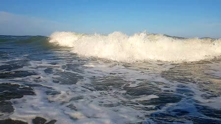 полый : SLOW MOTION, CLOSE UP The wave moves toward the shore, moving towards the beach. Drops of the wave are throbbing uphill. Slow motion of the sea wave near the shore Стоковые видеозаписи