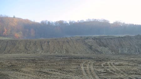 pedreira : the land plot was digested by excavators. Panorama on the construction site.