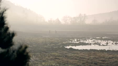 bombay : Two workers in the morning fog, go to swampy terrain