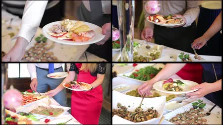 disposição : Collage people impose food. Catering. Impose Salad. Food Distribution Table. Stock Footage