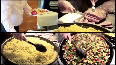 горошек : Collage Delicious pan stir fried colorful fresh vegetables being prepared. Chef mixes macaroni in a large pan. The cook cuts pieces of meat