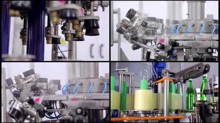 doldurmak : collage Line of water production. Green glass bottles move automatically along the lines of production, and fill with water Stok Video