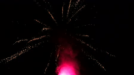 firecrackers : Fireworks. Small white particles of fireworks scatter in different directions. Light fireworks Stock Footage