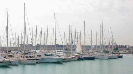 docked : Port of Valencia where sailboats and yachts are located. Morning in the port Tourist place, walk near sailboats Stock Footage