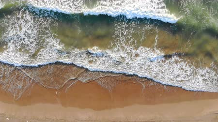 ave del paraiso : Aerial view of the beach of spain The waves come to the shore and form foam and bubbles off the coast. The look of a dron. Background or Texture Archivo de Video