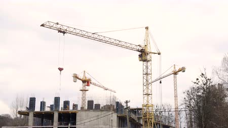 mikser : Timelapse construction industry. Three cranes and a group of workers are building a house. Stok Video