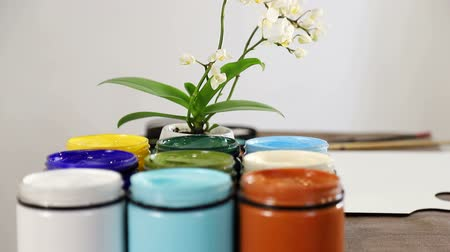 guache : Preparing to draw. Large cans of acrylic paint in different colors, which are on the table in a composition with flowers. Stock Footage