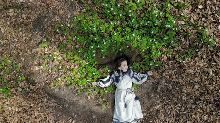 loira : Aerial view on top. A little girl is lying on the grass with white flowers with her eyes closed. The camera slowly moves away and approaches. Shot from a drone