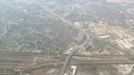 warszawa : View from the plane on the city of Warsaw in Poland. Slight vibration in the cockpit