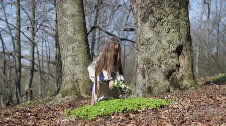 kamilla : A little girl in the woods picks up a whisk of white forest flowers, and puts it on his head Stock mozgókép