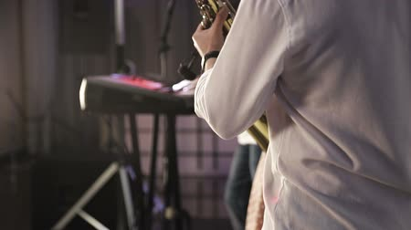 acoustic : Saxophonist play on golden saxophone. Jazz music. Stock Footage