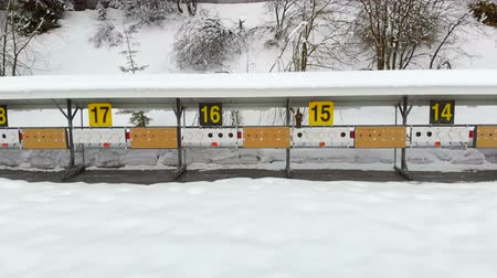 опасность : Biathlon. Panorama of targets for shooting during the biathlon. The numbering of the targets